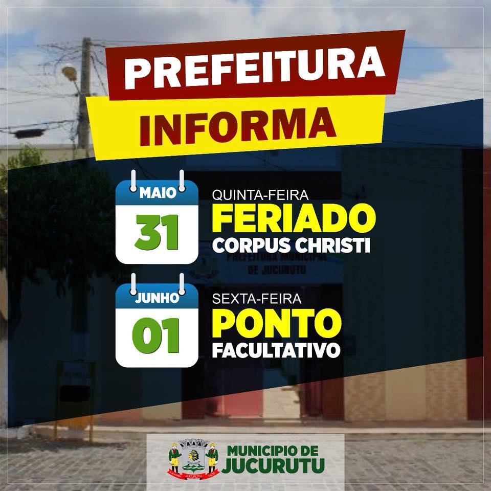 Prefeitura de Jucurutu informa programação para o feriado de Corpus Christi