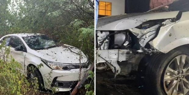 Batista Lima sofre acidente de carro com esposa e fica preso às ferragens; apesar do susto, o casal está bem