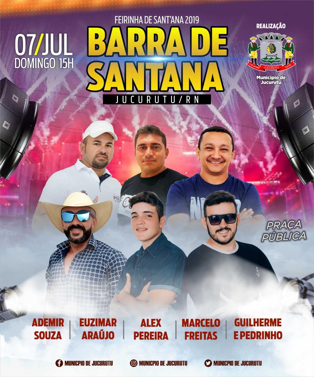 Saiba quem são as atrações que subirão ao palco da Feirinha de Sant´Ana do Distrito Barra de Santana